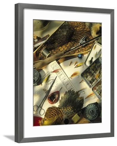 Still Life of Fly Fishing Accessories-Vito Aluia-Framed Art Print
