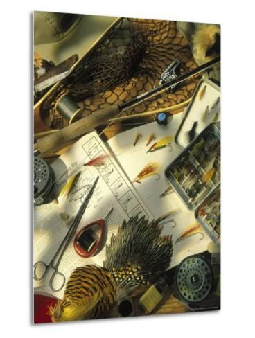 Still Life of Fly Fishing Accessories-Vito Aluia-Metal Print