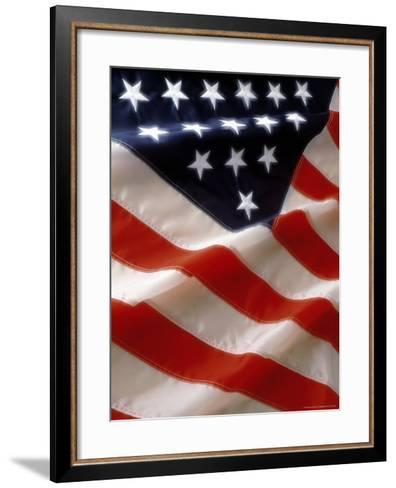 Close-up of Stars and Stripes on the American Flag-Doug Mazell-Framed Art Print