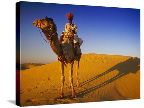 Man Atop Camel, Thar Desert, Rajasthan, India-Peter Adams-Stretched Canvas Print