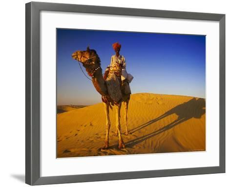 Man Atop Camel, Thar Desert, Rajasthan, India-Peter Adams-Framed Art Print