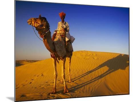 Man Atop Camel, Thar Desert, Rajasthan, India-Peter Adams-Mounted Photographic Print