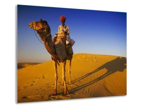 Man Atop Camel, Thar Desert, Rajasthan, India-Peter Adams-Metal Print