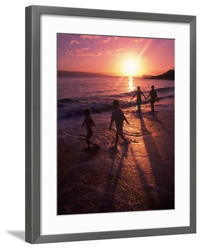 Family Walking on Beach at Dusk, HI-Mark Gibson-Framed Art Print