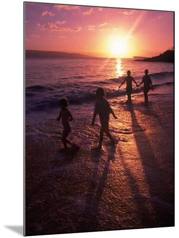 Family Walking on Beach at Dusk, HI-Mark Gibson-Mounted Photographic Print