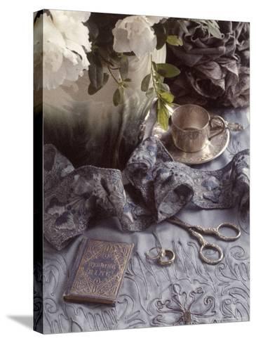 Still Life with Vase, Wedding Rings, Silver Tea Set-Wendi Schneider-Stretched Canvas Print