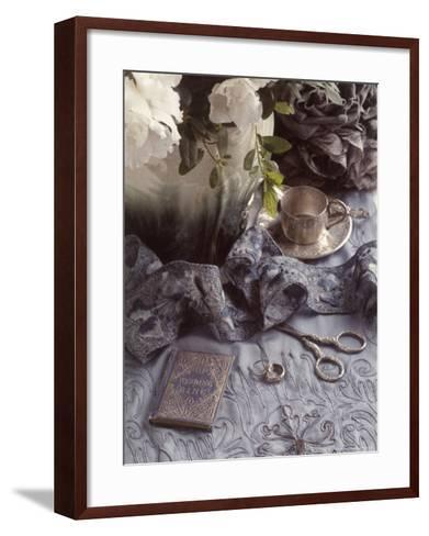 Still Life with Vase, Wedding Rings, Silver Tea Set-Wendi Schneider-Framed Art Print