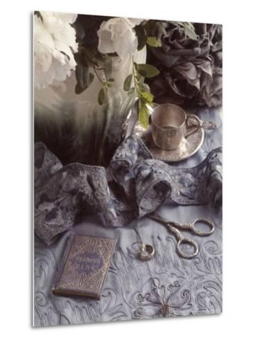 Still Life with Vase, Wedding Rings, Silver Tea Set-Wendi Schneider-Metal Print