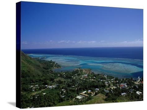 Aerial View of Moorea Showing Village and Reefs-Barry Winiker-Stretched Canvas Print