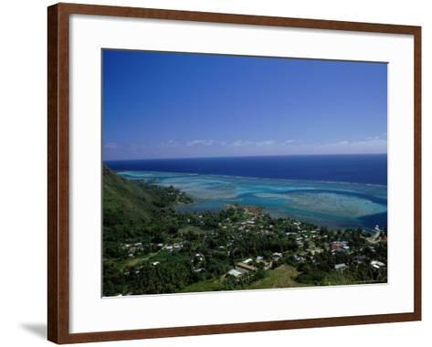 Aerial View of Moorea Showing Village and Reefs-Barry Winiker-Framed Art Print