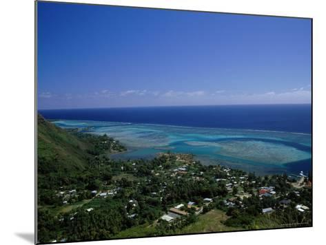 Aerial View of Moorea Showing Village and Reefs-Barry Winiker-Mounted Photographic Print