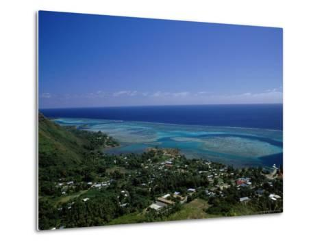 Aerial View of Moorea Showing Village and Reefs-Barry Winiker-Metal Print