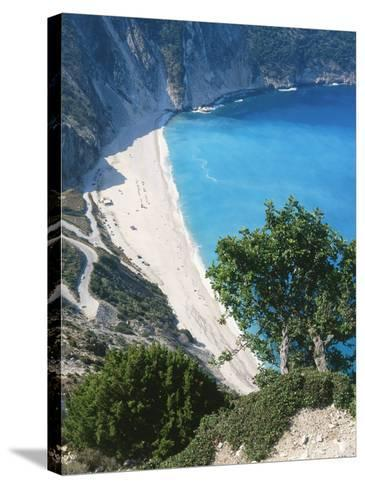 Kefalonia, View South from Cliff Tops Over White-Pebbled Beach at Myrtos-Ian West-Stretched Canvas Print