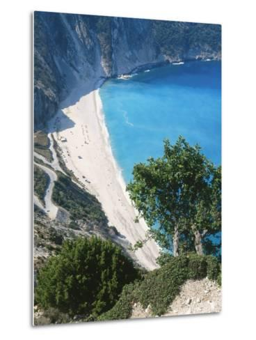Kefalonia, View South from Cliff Tops Over White-Pebbled Beach at Myrtos-Ian West-Metal Print