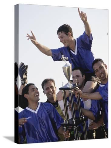 Soccer Team with Trophy--Stretched Canvas Print