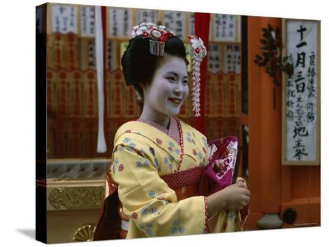 Apprentice Geisha (Maiko), Woman Dressed in Traditional Costume, Kimono, Kyoto, Honshu, Japan--Stretched Canvas Print