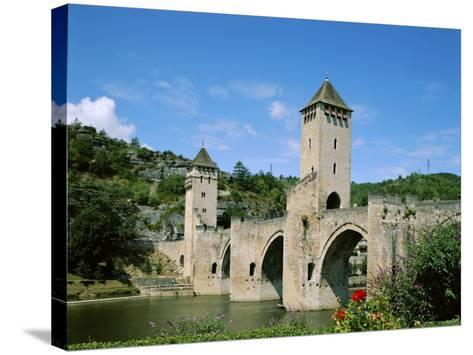 Pont Valentre and Lot River, Cahors, Lot Region, France--Stretched Canvas Print