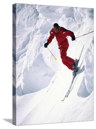 African-American Skier in Red--Stretched Canvas Print