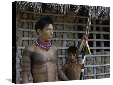 Tapirape Indian Chief and Son, Brazil--Stretched Canvas Print