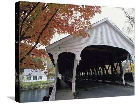 White Covered Bridge in Autumn--Stretched Canvas Print