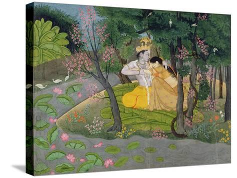 Radha and Krishna Embrace in a Grove of Flowering Trees, c.1780--Stretched Canvas Print