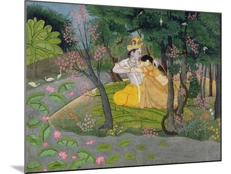 Radha and Krishna Embrace in a Grove of Flowering Trees, c.1780--Mounted Giclee Print