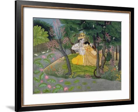 Radha and Krishna Embrace in a Grove of Flowering Trees, c.1780--Framed Art Print