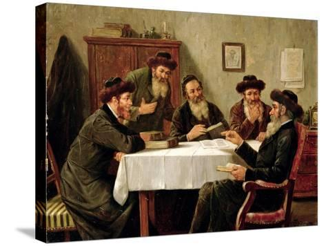 Jewish Scholars Debating-Josef Johann Suss-Stretched Canvas Print