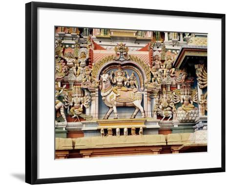 Relief Depicting Shiva and Parvati Riding on Nandi--Framed Art Print