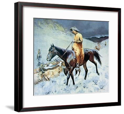 On the Trail-Frederic Sackrider Remington-Framed Art Print