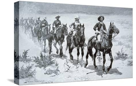 US Buffalo Soldiers Marching in the Desert, from a Drawing of 1888-Frederic Sackrider Remington-Stretched Canvas Print