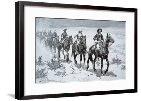 US Buffalo Soldiers Marching in the Desert, from a Drawing of 1888-Frederic Sackrider Remington-Framed Art Print