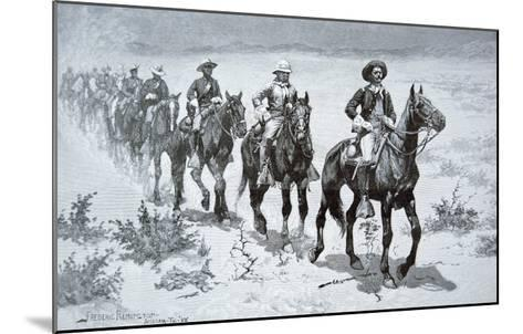 US Buffalo Soldiers Marching in the Desert, from a Drawing of 1888-Frederic Sackrider Remington-Mounted Giclee Print