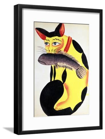 Cat with a Fish in Its Mouth, from the Rudyard Kipling Collection, Calcutta, c.1890--Framed Art Print