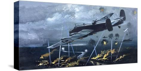 Lancaster Bomber over Germany--Stretched Canvas Print