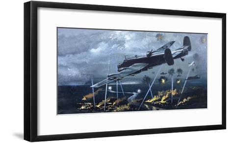 Lancaster Bomber over Germany--Framed Art Print