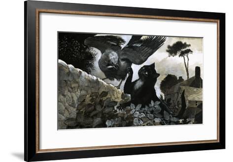 Cat Attacking a Bird-G^ W Backhouse-Framed Art Print
