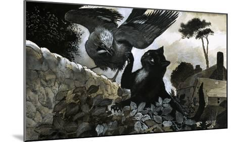 Cat Attacking a Bird-G^ W Backhouse-Mounted Giclee Print