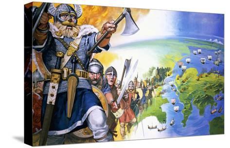 Vikings-Angus Mcbride-Stretched Canvas Print
