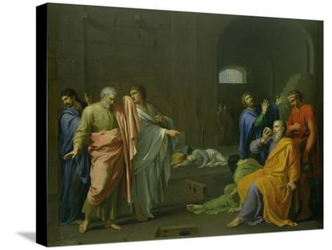 The Death of Socrates-Charles Alphonse Dufresnoy-Stretched Canvas Print