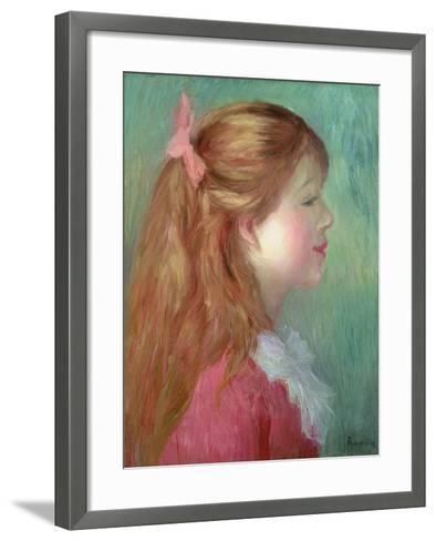 Young Girl with Long Hair in Profile, 1890-Pierre-Auguste Renoir-Framed Art Print