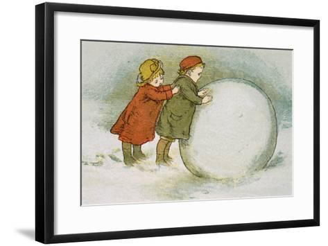 Children Rolling Snowballs-Lizzie Mack-Framed Art Print