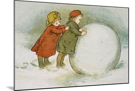 Children Rolling Snowballs-Lizzie Mack-Mounted Giclee Print
