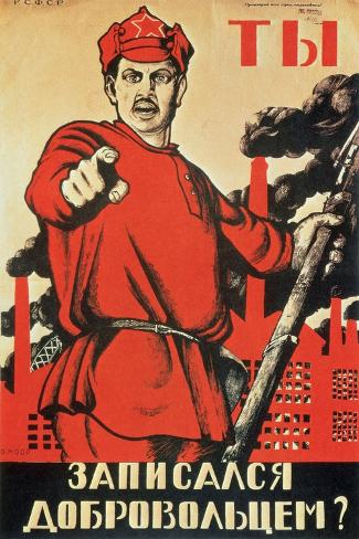 Are You a Volunteer Yet, Propaganda Poster, c.1920-Dmitri Moor-Stretched Canvas Print