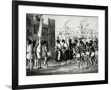 Buffalo Dance at Pueblo de Zuni, from Report of an Expedition Down the Zuni and Colorado Rivers-Ricard Hovenden Kern-Framed Art Print