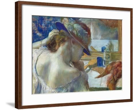 In Front of the Mirror, 1889-Edgar Degas-Framed Art Print