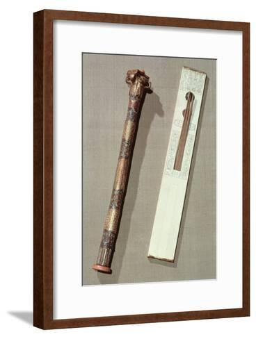 Scribe's Palette and a Case For Writing Reeds, from the Tomb of Tutankhamun-Egyptian 18th Dynasty-Framed Art Print