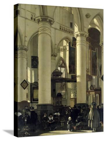 Interior of a Church-Emanuel de Witte-Stretched Canvas Print