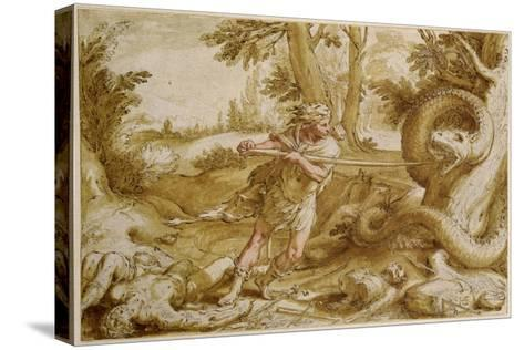Cadmus About to Attack a Dragon-Hendrik Goltzius-Stretched Canvas Print