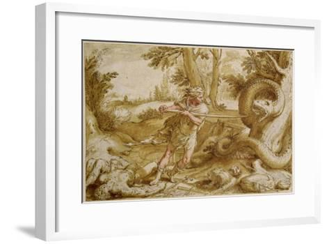Cadmus About to Attack a Dragon-Hendrik Goltzius-Framed Art Print